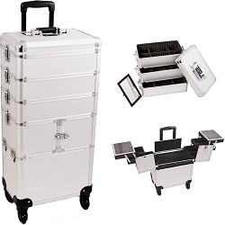 Silver Dot Pattern 3-Tiers Accordion Trays Professional Rolling Aluminum Cosmetic Makeup Case And Stackable Trays With Dividers (I3364DTSL)