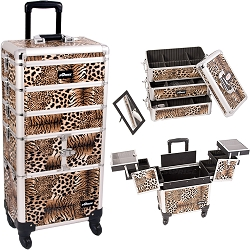 Leopard Printing Textured 3-Tiers Accordion Trays 4-Wheels Professional Rolling Aluminum Cosmetic Makeup Case And Stackable Trays With Dividers (I3364LPBR)