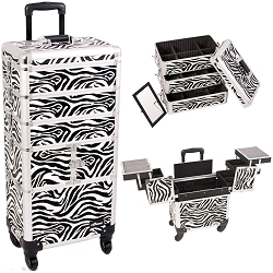 Zebra Printing Textured 3-Tiers Accordion Trays 4-Wheels Professional Rolling Aluminum Cosmetic Makeup Case And Stackable Trays With Dividers (I3364ZBWH)