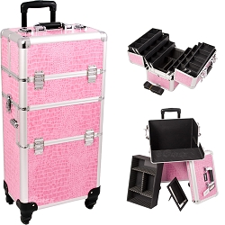 Pink Crocodile Printing Texture 4-Wheels Professional Rolling Aluminum Cosmetic Makeup Case And 6-Tiers Extendable Trays With Dividers (I3461CRPK)