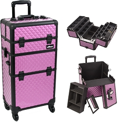 Purple Diamond Pattern 4-Wheels Professional Rolling Aluminum Cosmetic Makeup Case And 6-Tiers Extendable Trays With Dividers (I3461DMPLB)