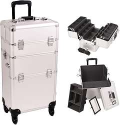 Silver Dot Pattern 4-Wheels Professional Rolling Aluminum Cosmetic Makeup Case And 6-Tiers Extendable Trays With Dividers (I3461DTSL)