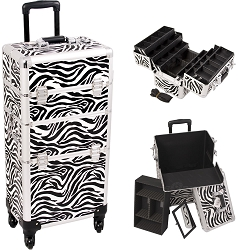 Zebra Printing Texture 4-Wheels Professional Rolling Aluminum Cosmetic Makeup Case And 6-Tiers Extendable Trays With Dividers (I3461ZBWH)