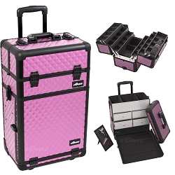 Purple Diamond Pattern Professional Rolling Aluminum Cosmetic Makeup Case With Split Drawers And 6-Tiers Extendable Trays With Dividers (I3462DMPLB)