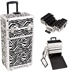 Zebra Textured Printing Professional Rolling Aluminum Cosmetic Makeup Case With Large Drawers And 6-Tiers Extendable Trays With Dividers (I3463ZBWH)