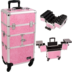 Pink Crocodile Printing Texture 3-Tiers Accordion Trays 4-Wheels Professional Rolling Aluminum Cosmetic Makeup Case And 6-Tiers Extendable Trays With Dividers (I3464CRPK)