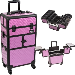 Purple Diamond Pattern 3-Tiers Accordion Trays 4-Wheels Professional Rolling Aluminum Cosmetic Makeup Case And 6-Tiers Extendable Trays With Dividers (I3464DMPLB)