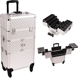 Silver Diamond Pattern 3-Tiers Accordion Trays 4-Wheels Professional Rolling Aluminum Cosmetic Makeup Case And 6-Tiers Extendable Trays With Dividers (I3464DMSL)