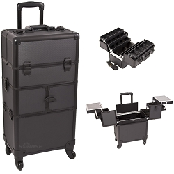 Black Dot Pattern 3-Tiers Accordion Trays 4-Wheels Professional Rolling Aluminum Cosmetic Makeup Case And 6-Tiers Extendable Trays With Dividers (I3464DTAB)