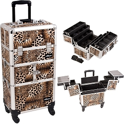 Leopard Printing Textured 3-Tiers Accordion Trays 4-Wheels Professional Rolling Aluminum Cosmetic Makeup Case And 6-Tiers Extendable Trays With Dividers (I3464LPBR)