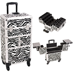 Zebra Printing Textured 3-Tiers Accordion Trays 4-Wheels Professional Rolling Aluminum Cosmetic Makeup Case And 6-Tiers Extendable Trays With Dividers (I3464ZBWH)