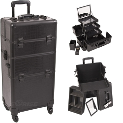 Black Crocodile Printing Texture 4-Wheels Professional Rolling Aluminum Cosmetic Makeup Case And 3-Tiers Extendable Trays With Mirror And Brush Holder (I3561CRAB)