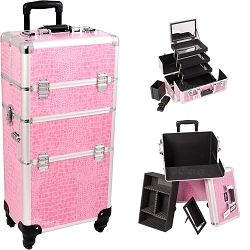 Pink Crocodile Printing Texture 4-Wheels Professional Rolling Aluminum Cosmetic Makeup Case And 3-Tiers Extendable Trays With Mirror And Brush Holder (I3561CRPK)