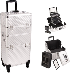 Silver Diamond Pattern 4-Wheels Professional Rolling Aluminum Cosmetic Makeup Case And 3-Tiers Extendable Trays With Mirror And Brush Holder (I3561DMSL)