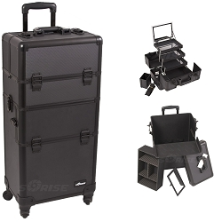 Black Dot Pattern 4-Wheels Professional Rolling Aluminum Cosmetic Makeup Case And 3-Tiers Extendable Trays With Mirror And Brush Holder (I3561DTAB)