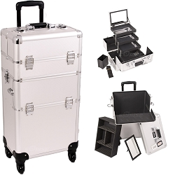 Silver Dot Pattern 4-Wheels Professional Rolling Aluminum Cosmetic Makeup Case And 3-Tiers Extendable Trays With Mirror And Brush Holder (I3561DTSL)