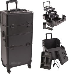 Black Smooth Pattern 4-Wheels Professional Rolling Aluminum Cosmetic Makeup Case And 3-Tiers Extendable Trays With Mirror And Brush Holder (I3561PPAB)