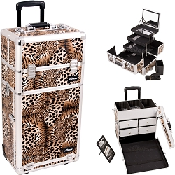 Leopard Textured Printing Professional Rolling Aluminum Cosmetic Makeup Case With Split Drawers And 3-Tiers Extendable Trays With Mirror And Brush Holder (I3562LPBR)