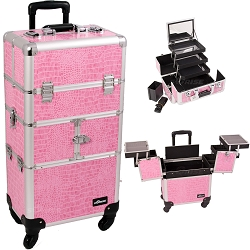 Pink Crocodile Printing Texture 3-Tiers Accordion Trays 4-Wheels Professional Rolling Aluminum Cosmetic Makeup Case And 3-Tiers Extendable Trays With Mirror And Brush Holder (I3564CRPK)
