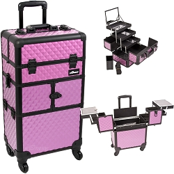 Purple Diamond Pattern 3-Tiers Accordion Trays 4-Wheels Professional Rolling Aluminum Cosmetic Makeup Case And 3-Tiers Extendable Trays With Mirror And Brush Holder (I3564DMPLB)