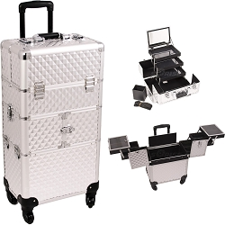 Silver Diamond Pattern 3-Tiers Accordion Trays 4-Wheels Professional Rolling Aluminum Cosmetic Makeup Case And 3-Tiers Extendable Trays With Mirror And Brush Holder (I3564DMSL)
