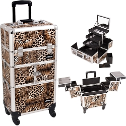 Leopard Printing Textured 3-Tiers Accordion Trays 4-Wheels Professional Rolling Aluminum Cosmetic Makeup Case And 3-Tiers Extendable Trays With Mirror And Brush Holder (I3564LPBR)