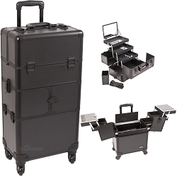 Black Smooth Pattern 3-Tiers Accordion Trays 4-Wheels Professional Rolling Aluminum Cosmetic Makeup Case And 3-Tiers Extendable Trays With Mirror And Brush Holder (I3564PPAB)