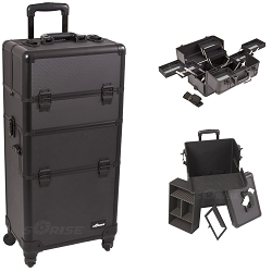 Black Dot Pattern 4-Wheels Professional Rolling Aluminum Cosmetic Makeup Case And Multiple Expandable Trays (I3661DTAB)