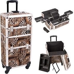 Leopard Printing Texture 4-Wheels Professional Rolling Aluminum Cosmetic Makeup Case And Multiple Expandable Trays (I3661LPBR)