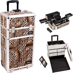 Leopard Textured Printing Professional Rolling Aluminum Cosmetic Makeup Case With Split Drawers And Multiple Expandable Trays (I3662LPBR)