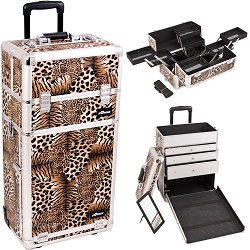 Leopard Printing Texture Professional Rolling Aluminum Cosmetic Makeup Case With Large Drawers And Multiple Expandable Trays (I3663LPBR)
