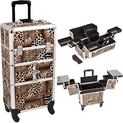 Leopard Printing Texture 3-Tiers Accordion Trays 4-Wheels Professional Rolling Aluminum Cosmetic Makeup Case And Multiple Expandable Trays (I3664LPBR)