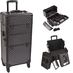 Black Diamond Pattern 4-Wheels Professional Rolling Aluminum Cosmetic Makeup Case And Easy-Slide Extendable Trays With Brush Holder (I3761DMAB)