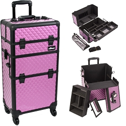 Purple Diamond Pattern 4-Wheels Professional Rolling Aluminum Cosmetic Makeup Case And Easy-Slide Extendable Trays With Brush Holder (I3761DMPLB)