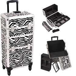 Zebra Printing Pattern 4-Wheels Professional Rolling Aluminum Cosmetic Makeup Case And Easy-Slide Extendable Trays With Brush Holder (I3761ZBWH)