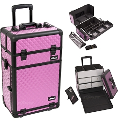 Purple Diamond Pattern Professional Rolling Aluminum Cosmetic Makeup Case With Split Drawers Easy-Slide Extendable Trays And Brush Holder (I3762DMPLB)