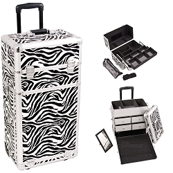 Zebra Printing Pattern Professional Rolling Aluminum Cosmetic Makeup Case With Split Drawers Easy-Slide Extendable Trays And Brush Holder (I3762ZBWH)