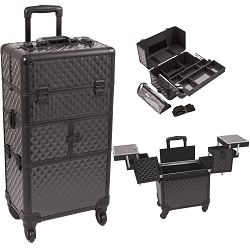 Black Diamond Pattern 3-Tiers Accordion Trays 4-Wheels Professional Rolling Aluminum Cosmetic Makeup Case And Easy-Slide Extendable Trays With Mirror And Brush Holder (I3764DMAB)