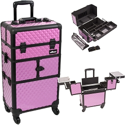 Purple Diamond Pattern 3-Tiers Accordion Trays 4-Wheels Professional Rolling Aluminum Cosmetic Makeup Case And Easy-Slide Extendable Trays With Mirror And Brush Holder (I3764DMPLB)