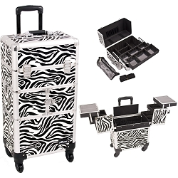 Zebra Printing Pattern 3-Tiers Accordion Trays 4-Wheels Professional Rolling Aluminum Cosmetic Makeup Case And Easy-Slide Extendable Trays With Mirror And Brush Holder (I3764ZBWH)