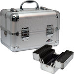 2-Tiered Silver Circular Pattern Makeup Train Case (C0002CLSL)