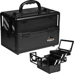 Black 2-Tiers Extendable Trays Cosmetic Makeup Train Case With Mirror And Clear Top Panel (C0009PPAB)