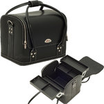 4-Tiers Expandable Trays Roll Top Black Leather-Like Professional Makeup Beauty Train Case (C3025PVAB)