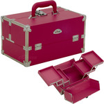 2-Tiers Expandable Trays Pink Vinyl Professional Makeup Beauty Train Case (C3026PPPK)