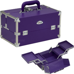 2-Tiers Expandable Trays Purple Vinyl Professional Makeup Beauty Train Case (C3026PPPL)