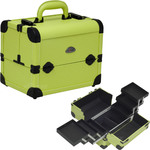 3-Tiers Easy-Slide Expandable Trays Green Leather-Like Pro Makeup Beauty Case (C3028PVGN)