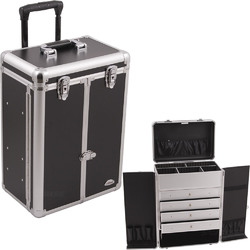 Black Smooth Professional Rolling Makeup Case With Drawers & French Door Opening With Brush Holder & Pockets (C6008PPBK)