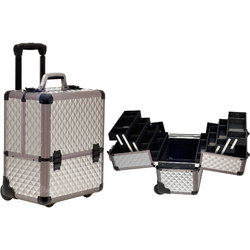 4-Tiers Easy-Slide Accordion Trays Gray Diamond Pattern Professional Rolling Makeup Case With Dividers (C6033DMGY)