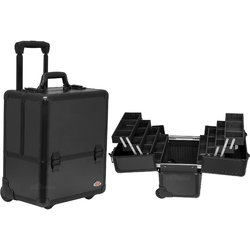 4-Tiers Easy-Slide Accordion Trays Black Smooth Pattern Professional Rolling Makeup Case With Dividers (C6033PPAB)
