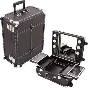 All Black Leather-Like Professional Rolling Makeup Studio Case With Lights Mirror & Silver Hardware (C6202PVBK)